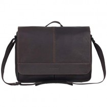 Kenneth Cole Reaction Risky Business Full-Grain Colombian Leather Crossbody Flapover Messenger Bag, Dark Brown