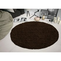 """Sweet Home Stores Cozy Shag Collection Solid Shag Rug, 5'3"""" Round, Brown Color"""