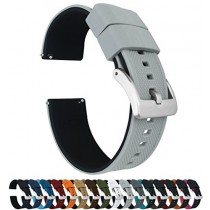 24mm Cool Grey/Black - Barton Elite Silicone Watch Bands - Quick Release - Choose Strap Color & Width