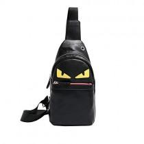 Mens Sling Bag Leather Chest Bag Shoulder Backpack Cross Body Travel,Rswsp (Black-Toothless)