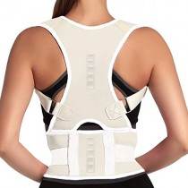 Magnet Back Brace Posture Corrector- Fully Adjustable Support Belt Improves Posture and Provides Lumbar Back Brace, Relieves Pain Upper and Lower Back for Men and Women (White, Large)