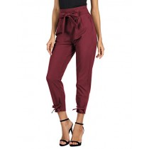GRACE KARIN Women's Cropped Paper Bag Waist Pants with Pockets (Small, CL903 Style-Wine)