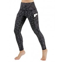 ODODOS High Waist Out Pocket Yoga Pants Tummy Control Workout Running 4 Way Stretch Yoga Leggings,SpaceDyeMattBlack,Small
