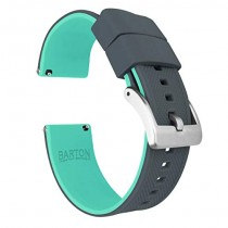 24mm Smoke Grey/Mint - Barton Elite Silicone Watch Bands - Quick Release - Choose Strap Color & Width