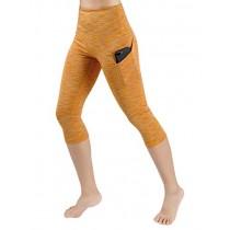 ODODOS High Waist Out Pocket Yoga Capris Pants Tummy Control Workout Running 4 Way Stretch Yoga Leggings,SpaceDyeMustard,X-Small