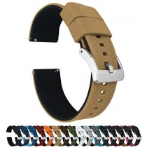 24mm Khaki Tan/Black - Barton Elite Silicone Watch Bands - Quick Release - Choose Strap Color & Width