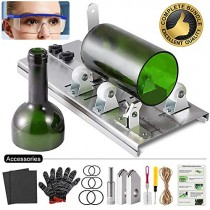 Glass Bottle Cutter Kit, Bottle Cutter DIY Machine with Size Marking for Cutting Round, Square, Oval Bottles and Mason Jars, Accessories Tool Kit Safety Glasses Gloves Hemp Rope for DIY Craft Project