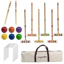 ROPODA Six-Player Croquet Set with Wooden Mallets, Colored Balls, Sturdy Carrying Bagfor Adults &Kids, Perfect for Lawn,Backyard,Park and More