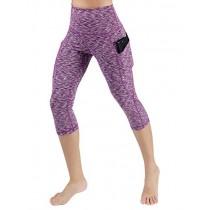 ODODOS High Waist Out Pocket Yoga Capris Pants Tummy Control Workout Running 4 Way Stretch Yoga Leggings,SpaceDyePurple,X-Small