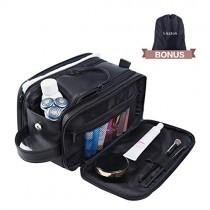 Lizzton Toiletry Bag for Men & Women Large Travel Shaving Dopp Kit Water-resistant Bathroom Toiletries Organizer PU Leather Cosmetic Bags