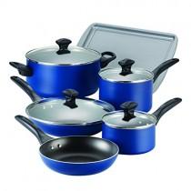 Farberware Dishwasher Safe Nonstick Aluminum 15-Piece Cookware Set, Blue