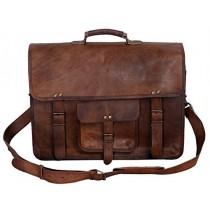 KPL 18 Inch Vintage Men's Brown Handmade Leather Briefcase Best Laptop Messenger Bag Satchel (18 Inch)