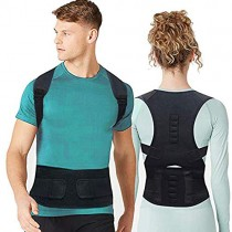 Magnet Back Brace Posture Corrector- Fully Adjustable Support Belt Improves Posture and Provides Lumbar Back Brace, Relieves Pain Upper and Lower Back for Men and Women (Black, Large)