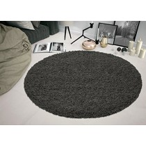 """Sweet Home Stores COZY2764-ROUND Shaggy Rug, 5'3"""" Round, Charcoal Grey"""