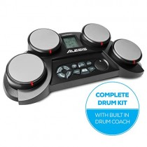 Alesis Compact Kit 4   Portable 4-Pad Tabletop Electronic Drum Kit with Velocity-Sensitive Drum Pads, 70 Drum Sounds, Coaching Feature, Game Functions, Battery- or AC-Power and Drum Sticks Included