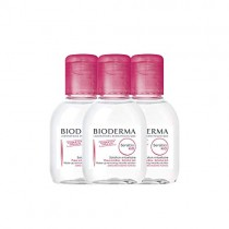 Bioderma Sensibio H2O Soothing Micellar Cleansing Water and Makeup Removing Solution for Sensitive Skin - Face and Eyes - 3 x 3.3 FL.OZ.