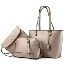 Handbags for Women Shoulder Bags Tote Satchel Hobo 3pcs Purse Set Pearlescent-Khaki