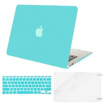 MOSISO Plastic Hard Case & Keyboard Cover & Screen Protector Only Compatible MacBook Air 13 Inch (Models: A1369 & A1466, Older Version 2010-2017 Release), Turquoise