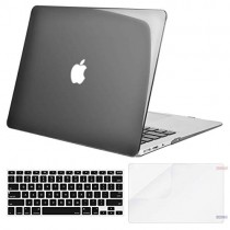 MOSISO Plastic Hard Case & Keyboard Cover & Screen Protector Only Compatible MacBook Air 13 Inch (Models: A1369 & A1466, Older Version 2010-2017 Release), Transparent Black