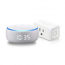 Echo Dot with clock (Sandstone) Bundle with TP-Link simple set up smart plug