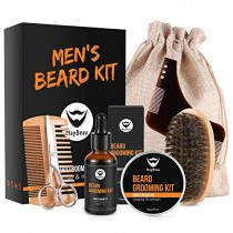 Maybeau Beard Kit for Men, Beard Grooming & Trimming Kit with 2oz Beard Styling Balm, 1oz Beard Oil, Beard Brush, Two-Side Comb, Scissors, Burlap Bag and Unique Beard Shaper for Beard Lovers