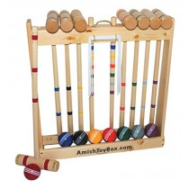 "Amish-Made Deluxe Wooden Croquet Game Set, 8 Player (32"" Handles)"