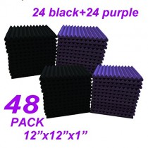 "48 Pack Black/purple 12""X 12""X1"" Acoustic Panels Studio Soundproofing Foam Wedge Tiles,"