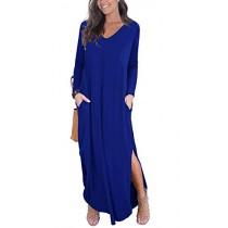 GRECERELLE Long Sleeve Solid V-Neck Pocket Loose Maxi Dress Royal Blue-L