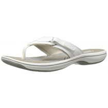 Clarks Women's Breeze Sea Flip Flop, New White Synthetic, 11 B(M) US