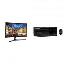 "Samsung Electronics LC27F398FWNXZA Samsung Electronics C27F398 27"" Curved Monitor & Logitech MK345 Wireless Combo - Full-Sized Keyboard with Palm Rest and Comfortable Right-Handed Mouse"
