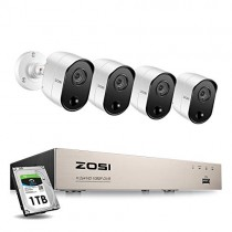 ZOSI 4CH 1080P Home Security System (4) 2.0MP Surveillance PIR Cameras with 1TB HDD Support PIR Motion Detection Weatherproof Remote Access