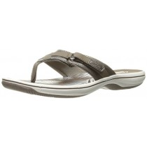 Clarks Women's Breeze Sea Flip Flop, New Pewter Synthetic, 12 B(M) US