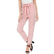 GRACE KARIN Women's Pants Trouser Slim Casual Cropped Paper Bag Waist Pants S Light Pink