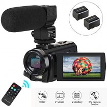 "Video Camera Camcorder,Digital Camera Recorder with Microphone 1080P 30FPS 24MP 3"" LCD 270 Degrees Rotatable Screen 16X Digital Zoom YouTube Vlogging Camera with Remote Control,2 Batteries"