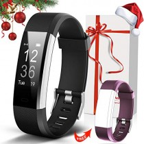 Lintelek Fitness Tracker with Heart Rate Monitor, Activity Tracker with Connected GPS, IP67 Waterproof Smart Band with Calorie Counter, Pedometer for Men, Women and Gift (Christmas - Black+Purple)