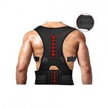 Magnetic Therapy Posture Support Back Brace -FDA Approved Medical Grade Adjustable Posture Corrector Brace Shoulder Back Support Belt- Relieves Neck, Back and Spine Pain (L)
