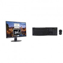 "Sceptre E225W-19203R 22"" Ultra Thin 75Hz 1080p LED Monitor 2X HDMI VGA Build-in Speakers, Metallic Black 2018 & Logitech MK270 Wireless Keyboard and Mouse Combo - Keyboard and Mouse Included"