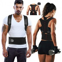 Magnetic Back Support for Posture Corrector with 10 Magnets and Adjustable Straps and Breathable Mesh Panels (Black, S)