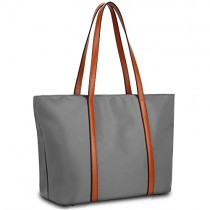 YALUXE Tote for Women Leather Nylon Shoulder Bag Women's Oxford Nylon Large Capacity Work fit 15.6 inch brown&grey