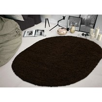 """Sweet Home Stores Cozy Shag Collection Solid Shag Rug, 5'3""""X7' Oval , Brown Color"""