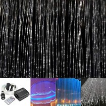 Huaxi 16W RGBW Fiber Optic Sensory Lights kit for Sensory den Waterfall Curtain Light with Flash Point Fiber Optical Cables 450 Strands 0.03in/0.75mm 13.1ft/4m