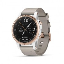 Garmin D2 Delta S, Smaller-Sized GPS Pilot Watch, Includes Smartwatch Features, Heart Rate and Music, Rose Gold with Beige Leather Band