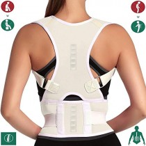 SZKANI 10 Magnets Back Braces for Back Pain - Best Fully Adjustable Posture Corrector for Men & Women - Improves Posture and 2 Steel Bone Provides Lumbar Support (Beige, XX-Large)