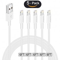 FEEL2NICE iphoen Charger Cable 5 Pack 6ft USB Cable for Charge Cable and Charging Cord Sync Wire Compatible with X XS Max XR /8/8 Plus / 7/7 Plus / 6/6 Plus / 5S / iPad/iPod, White