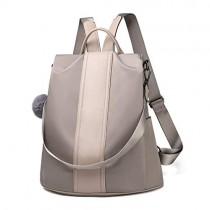 Women Backpack Purse Waterproof Nylon Anti-theft Rucksack Lightweight Shoulder Bag (Khaki Large)
