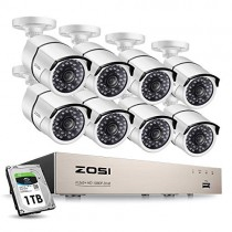 ZOSI 8CH 1080P Home Security Camera System H.265+ 8Channel 1080P HD-TVI CCTV DVR Recorder and 8pcs 1080P HD Weatherproof CCTV Cameras 100ft Night Vision,Easy Remote Access 1TB Hard Drive