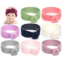 Baby Headbands Turban Knotted, Girl's Hairbands for Newborn,Toddler and Childrens (9-pack Circle Bow)