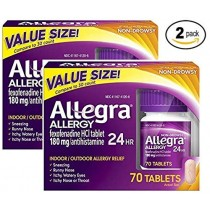 Allegra Adult 24 Hour Allergy Tablets, 180Mg, .2Pack (45 Count Each ) Zmbm2He