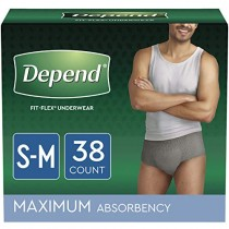 Depend FIT-FLEX Incontinence Underwear for Men, Maximum Absorbency, Small/Medium, Gray, 2 Packs of 19, 38 Total