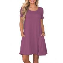 KORSIS Women's Summer Casual T Shirt Dresses Short Sleeve Swing Dress with Pockets Mauve L